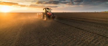 Farmer with tractor seeding - sowing crops at agricultural field Stock Photo