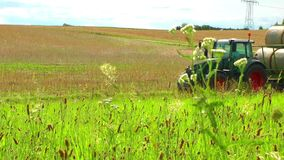 Farmer Truck in the Field and Nature stock footage