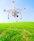 Farmer use drone over wheat fields. Royalty Free Stock Photo
