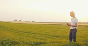 Farmer using digital tablet stock video footage