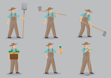 Farmer Vector Cartoon Character Set Royalty Free Stock Photography