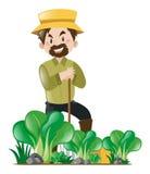 Farmer and vegetable garden. Illustration Royalty Free Stock Images