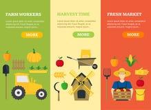 Farmer Vegetable Seller Banner Card Vecrtical Set. Vector Royalty Free Stock Image