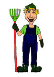 Farmer villager with rake. Hand drawn smiling farmer with rake Royalty Free Stock Images