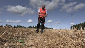Farmer walking on the field and checking straws stock footage