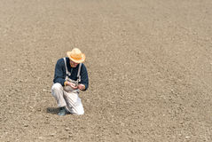 Farmer watching plowed field Royalty Free Stock Image