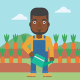 Farmer with watering can. An african-american man holding a watering can on the background of carrots growing on field vector flat design illustration. Square Stock Photos