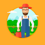 Farmer with watering can at cabbage field. A hipster man with the beard holding a watering can at cabbage field. Vector flat design illustration in the circle Royalty Free Stock Image