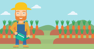 Farmer with watering can. A hipster man with the beard holding a watering can on the background of carrots growing on field vector flat design illustration Royalty Free Stock Photography
