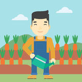 Farmer with watering can vector illustration. Royalty Free Stock Images