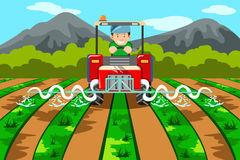 Farmer watering the farm with tractor stock illustration