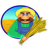 Farmer and wheat ears Stock Image