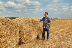 Farmer and bale of straw in field Royalty Free Stock Image