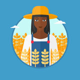 Farmer in wheat field vector illustration. Stock Image