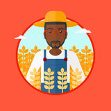 Farmer in wheat field vector illustration. Stock Images