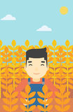 Farmer in wheat field vector illustration. An asian farmer standing in a wheat field. Young farmer working in a weat field. Vector flat design illustration Stock Image