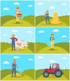 Farmer with Wicker Basket Set Vector Illustration stock illustration