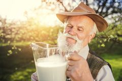 Free Farmer With Milk Jug Royalty Free Stock Photography - 54271367