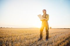 Farmer woman with clipboard on field, harvest going on stock photos