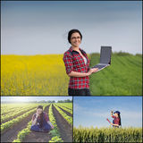 Farmer woman in the field Royalty Free Stock Images
