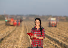 Farmer woman on field Royalty Free Stock Photo