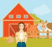 Farmer woman and a flat farm Royalty Free Stock Photography
