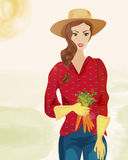 Farmer Woman with Hat Royalty Free Stock Images