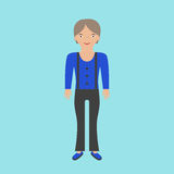 Farmer woman in overalls. On blue background. Flat design. Vector illustration. EPS 8, no transparency Stock Images