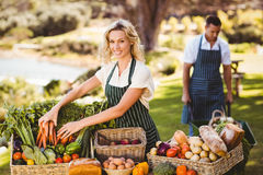 Farmer woman tidying up a table of local food Stock Photos