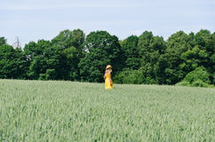 Farmer woman in yellow dress walk wheat field Stock Photography