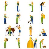Farmer at work  flat icons set Royalty Free Stock Images