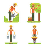 Farmer at work vector flat design. Farming isollated set. Royalty Free Stock Photos