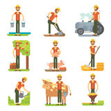 Farmer at work vector flat design. Farming isollated set. Royalty Free Stock Image