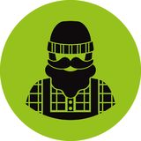 Farmer/worker flat icon - a man with a mustache a beard wearing an  in a plaid shirt,overalls jumpsuit,boots and knit hat. Templ Stock Image