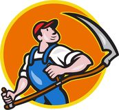 Farmer Worker Holding Scythe Circle Cartoon Royalty Free Stock Photography