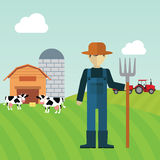 Farmer working in the farm Stock Photography