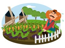 Farmer working on the field of his farm. Village theme. Flat style vector illustration stock illustration