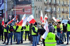 Farmers of the Agrounia union organised demonstration at the Artur Zawisza Square in the centre of Warsaw. Warsaw, Poland. 3 April 2019. Farmers of the Agrounia stock photos