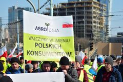 Farmers of the Agrounia union organised demonstration at the Artur Zawisza Square in the centre of Warsaw. Warsaw, Poland. 3 April 2019. Farmers of the Agrounia royalty free stock image