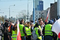 Farmers of the Agrounia union organised demonstration at the Artur Zawisza Square in the centre of Warsaw. Warsaw, Poland. 3 April 2019. Farmers of the Agrounia stock photography