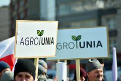 Farmers of the Agrounia union organised demonstration at the Artur Zawisza Square in the centre of Warsaw. Warsaw, Poland. 3 April 2019. Farmers of the Agrounia stock photo