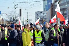 Farmers of the Agrounia union organised demonstration at the Artur Zawisza Square in the centre of Warsaw. Warsaw, Poland. 3 April 2019. Farmers of the Agrounia stock image