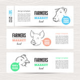 Farmers Banner With Animals Stock Photo
