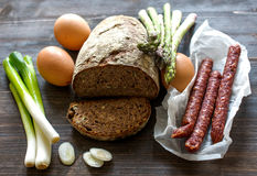 Farmers breakfast ingredients Royalty Free Stock Images