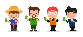 Farmers, carpenters, motorcyclists and businessmen royalty free illustration