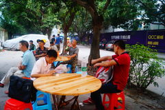 Farmers construction workers in the open air Restaurant Royalty Free Stock Image