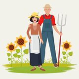 Farmers couple man and woman. Male and female gardener. Stock Photography