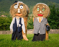 Farmers couple straw dolls Royalty Free Stock Photography