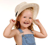 Farmers daughter III. Girl with hat Royalty Free Stock Image