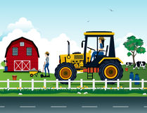Farmers. Are driving a tractor on the farm Royalty Free Stock Image